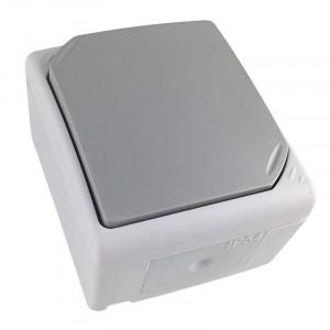 Solight vypínač do vlhka IP54, č. 1 jednopólový, sivý