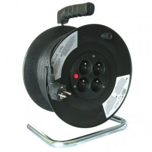 Solight predlžovací prívod na bubne, 4 zásuvky, čierny, 50m