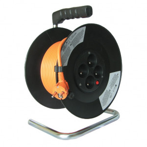 Solight predlžovací prívod na bubne, 4 zásuvky, oranžový, 50m