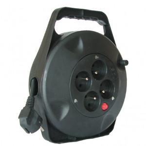 Solight predlžovací prívod na bubne, 4 zásuvky, čierny, 10m