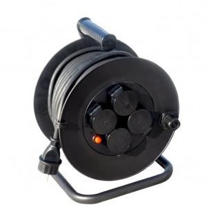 Solight predlžovací prívod na bubne, vonkajší, 4 zásuvky, čierny, 25m