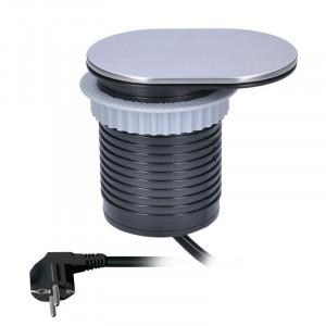 Solight 1x vstavaná zásuvka + 1x USB s posuvným viečkom, oválny kryt z brúseného hliníka, predlžovací prívod 1,9 m, USB 2400mA