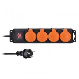 Solight predlžovací prívod IP44, 4 zásuvky, gumový kábel, vypínač, vonkajší, 5m