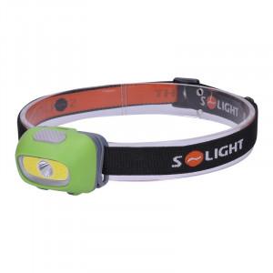 Solight LED čelové svietidlo, 3W Cree + 3W COB, 120lm, bílé + červené světlo, 3x AAA