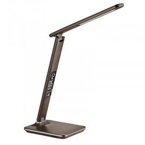 Solight LED stolná lampička s displejom, 9W, voľba teploty svetla, koža, hnedá