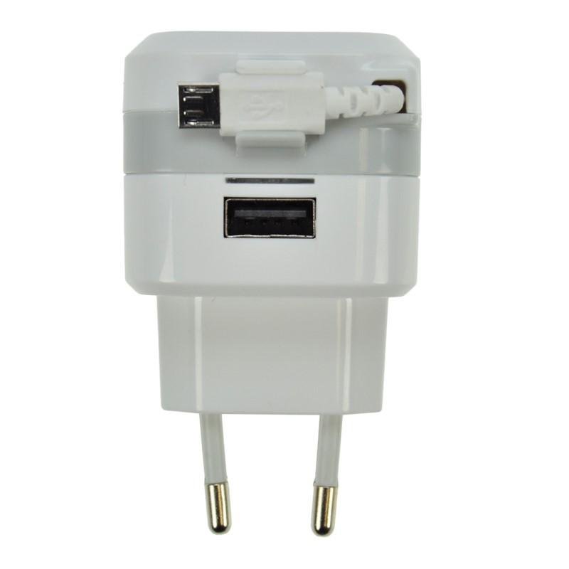 Solight Solight USB nabíjací adaptér, navíjací kábel micro USB + 1x USB, 2400mA max., AC 230V, bielosivý
