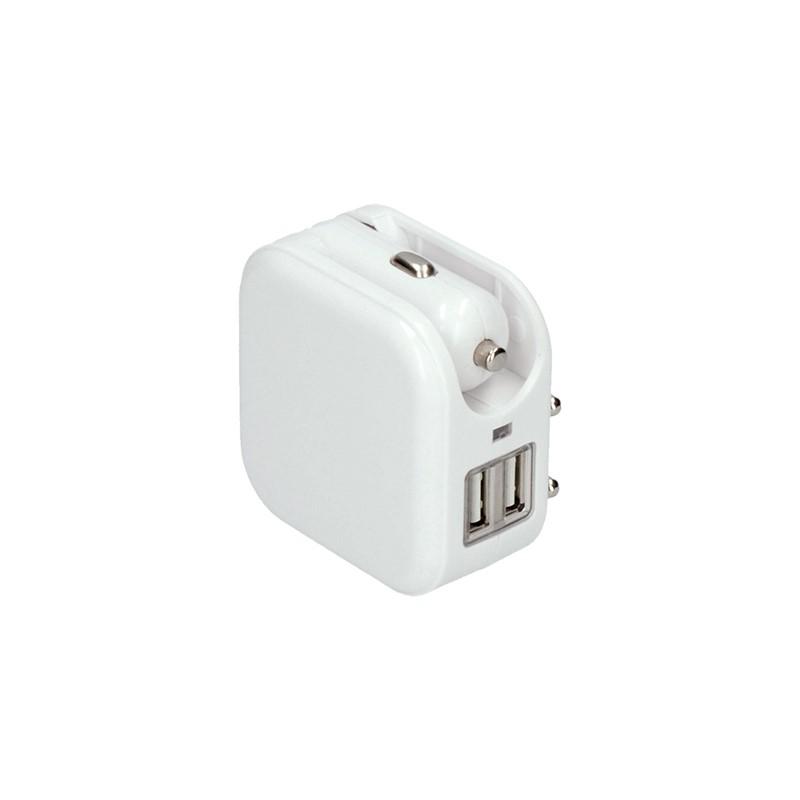 Solight Solight USB nabíjací adaptér auto+zásuvka, 2x USB, max. 2400mA, AC 230V / DC 12V, biely