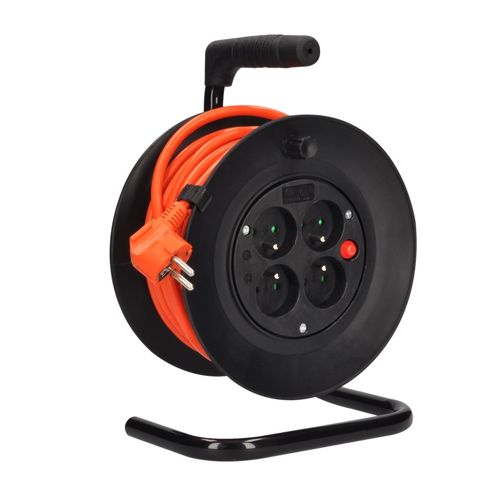 Solight Solight predlžovací prívod na bubne, 4 zásuvky, oranžový kábel, 15m