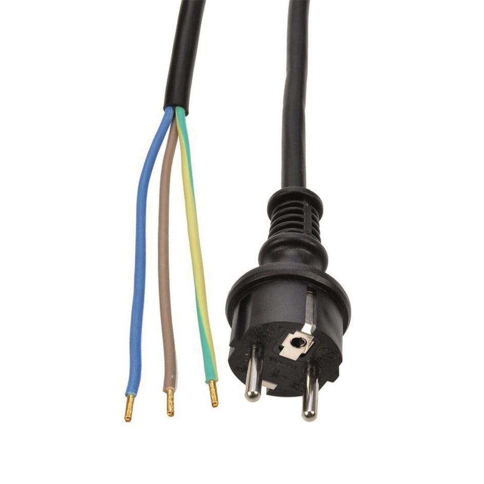 Solight Solight flexo šnúra, 3x 1mm2, gumová, čierna, 2,5m